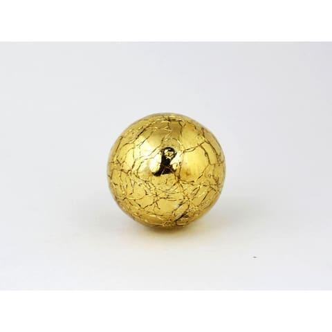 Round Mercury Gold Crackle Glass Cabinet Knobs Set