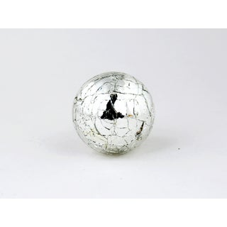 Round Silver Mercury Crackle Glass Cabinet Knobs (Set of 4)