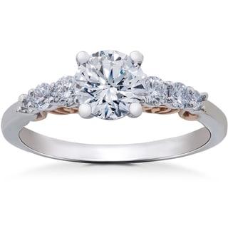 14k White & Rose Gold 1 1/4 ct TDW Diamond Lab Grown Eco Friendly Vintage Engagement Ring 14K Ring (F-G-SI1,SI2)