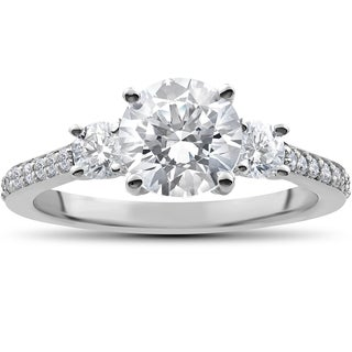 14k White Gold 2 ct Round Diamond 3-Stone Lab Grown Eco Friendly Engagement Ring
