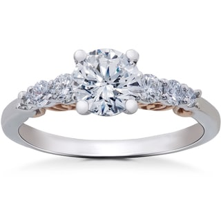 14k White & Rose Gold 7/8 ct Graduated Eco Friently Diamond Lab Grown Vintage Engagement Ring (F-G-SI1,SI2)
