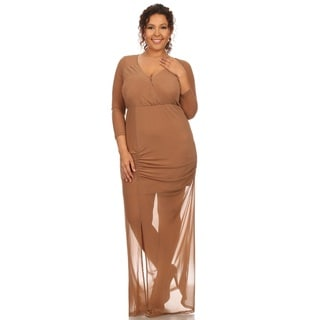 Hadari Women's Plus Size Bodycon Mesh Dress