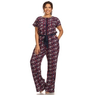 Hadari Women's Plus Size Short Sleeve Round Neck Jumpsuit