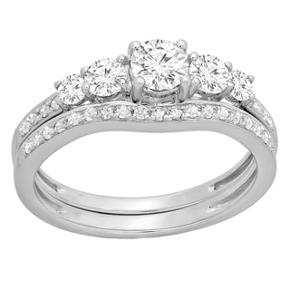 10k Gold 1ct TDW Round-cut Diamond 5-stone Bridal Engagement Ring With Matching Band Set (H-I, I1-I2)