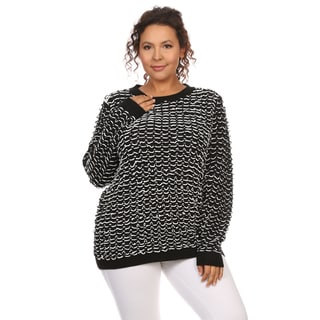 Hadari Women's Plus Size Long Sleeve Round Neck Top