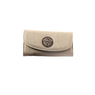 Hadari Women's Round Gold Monogram Button Clip Beige Wallet with 16 Pockets
