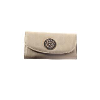 Hadari Women's Round Gold Monogram Button Clip Beige Wallet with 16 Pockets