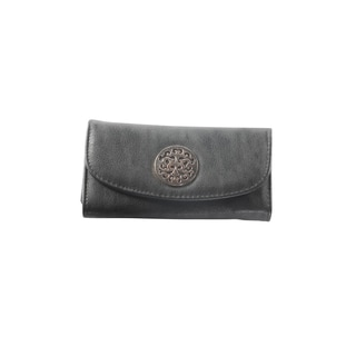 Hadari Women's Round Gold Monogram Button Clip Black Wallet with 16 Pockets