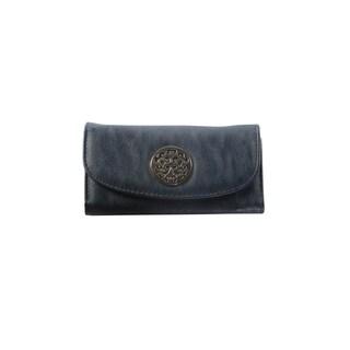 Hadari Women's Round Gold Monogram Button Clip Navy Wallet with 16 Pockets