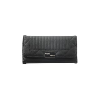 Hadari Women's Rectangular Studded Monogram Clip on Black 12 Pocket Wallet
