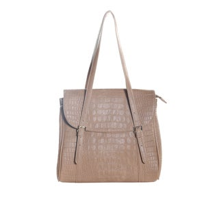 Hadari Women's Taupe Croc Print Tote with 6 internal pockets