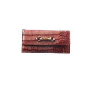 Hadari Women's Croc Burgungy Wallet with Buckle and 14 pockets
