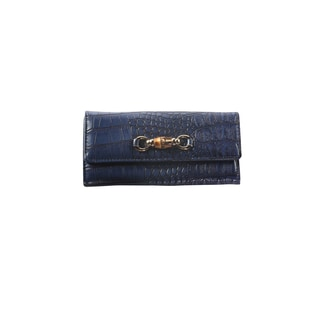 Hadari Women's Croc Navy Wallet with Buckle and 14 pockets