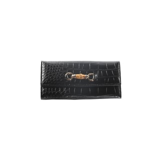 Hadari Women's Croc Black Wallet with Buckle and 14 pockets