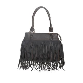 Hadari Women's Grey Satchel with Fringe and 4 internal pockets