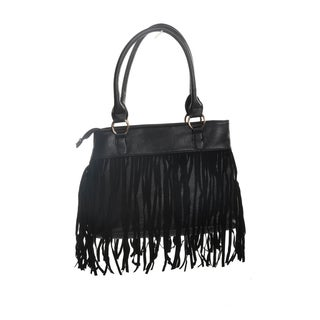 Hadari Women's Black Satchel with Fringe and 4 internal pockets