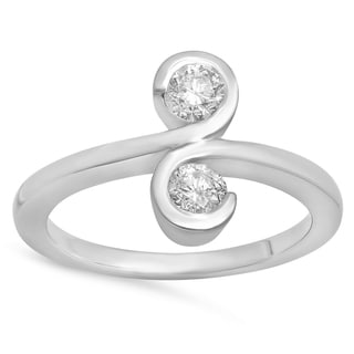 14k Gold Round 1/2ct TDW White Diamond 2-stone Bypass Style Cocktail Right Hand Ring (I-J, I1-I2)