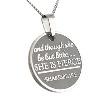 She Is Fierce Shakespeare Round Pendant