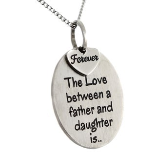 Stainless Steell 'The Love Between a Father and Daughter Is Forever' 2-piece Pendant