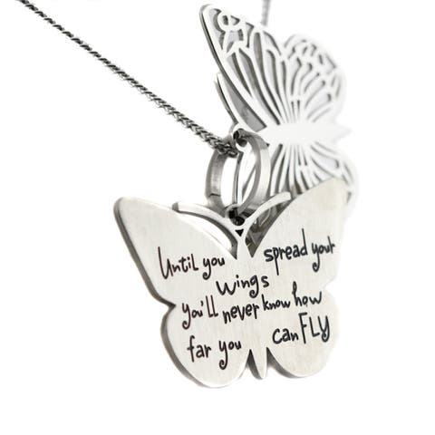 Filigree Silver-colored Stainless Steel Inspirational Two Piece Butterfly Pendant Necklace