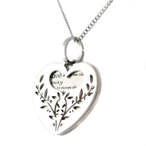 Stainless Steel Filigree Serenity Prayer Heart-shaped 2-piece Pendant