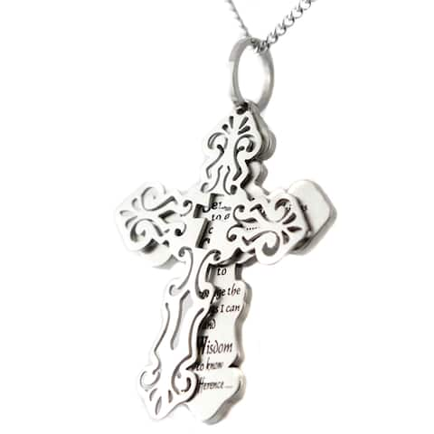 Filigree Serenity Prayer Stainless Steel Two-piece Pendant Necklace