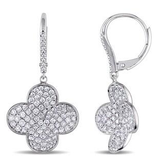 Miadora Signature Collection 18k White Gold 1 4/5ct TDW Diamond Quatrefoil Earrings