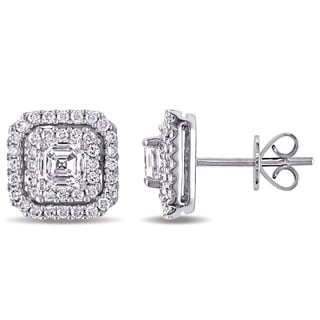 Miadora Signature Collection 14k White Gold 1 1/2ct TDW Asscher Cut and Round Diamond Double Halo Stud Earrings (G-H, SI1-SI2)