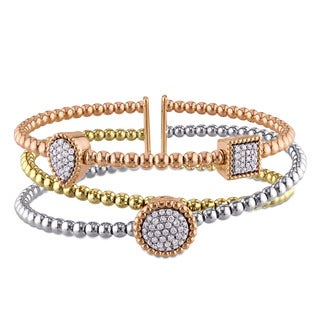 Miadora Signature Collection 18k White, Yellow and Rose Gold 1/2ct TDW Diamond Crossover Station Beaded Bracelet (G-H, I1-I2)