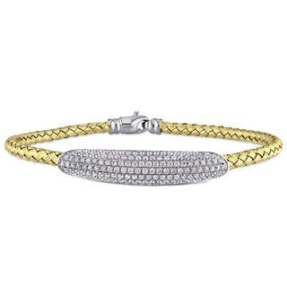 Miadora Signature Collection 2-Tone 18k White and Yellow Gold 1 1/2ct TDW Diamond Bangle Bracelet (G-H, SI1-SI2)