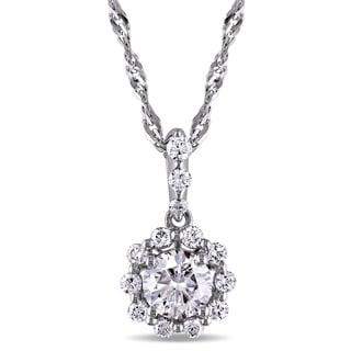 Miadora Signature Collection 14k White Gold 1ct TDW Diamond Halo Necklace