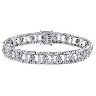 Miadora Signature Collection 14k White Gold 5ct TDW Diamond Floral Bracelet (G-H, I1-I2)