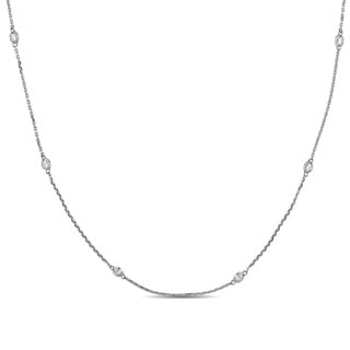 Miadora Signature Collection 18k White Gold 1 2/5ct TDW Diamond Adjustable Station Necklace