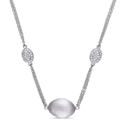Miadora Signature Collection 18k White Gold 1 3/8ct TDW Diamond Encrusted Station Necklace