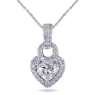 Miadora Signature Collection 14k White Gold 1ct TDW Heart and Round-Cut Diamond Necklace