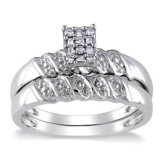 Miadora 10k White Gold 1/10ct TDW Round and Parallel Baguette Diamonds Bridal Set (G-H, I2-I3)