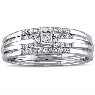 Miadora 10k White Gold 1/4ct TDW Princess-cut Diamond Split Shank Bridal Ring Set