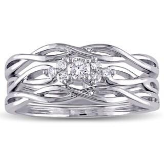 Miadora 10k White Gold 1/6ct TDW Diamond Infinity Bridal Ring Set
