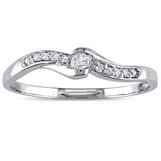 Miadora 10k White Gold 1/10ct TDW Diamond Bypass Promise Ring (G-H, I2-I3)