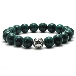 Women's 10mm Natural Green Beads Stretch Bracelet