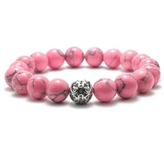 Women's Natural Pink and Black Texture 10mm Beads Stretch Bracelet
