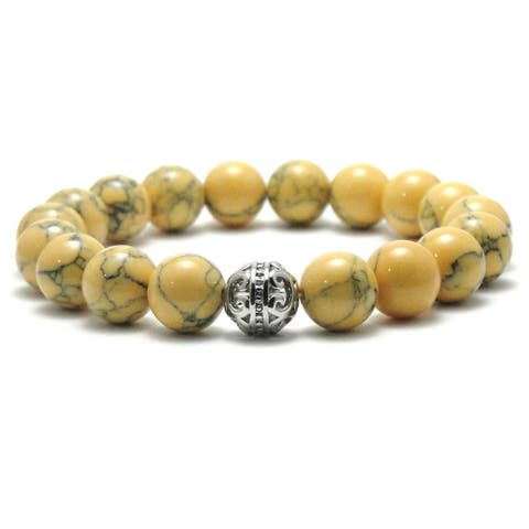 AALILLY Women's 10mm Khaki and Black Texture Natural Beads Stretch Bracelet