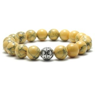Women's 10-millimeter Natural Khaki and Black Texture Beaded Stretch Bracelet