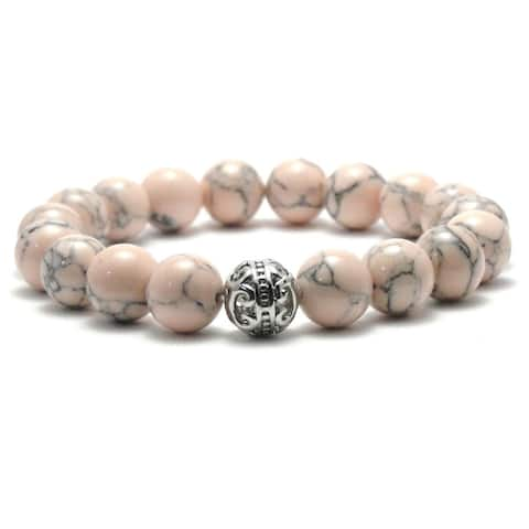 AALILLY Women's 10mm Peach and Black Textured Natural Beads Stretch Bracelet