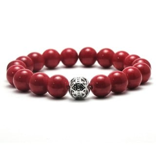 Women's 10mm Red Natural Beads Stretch Bracelet