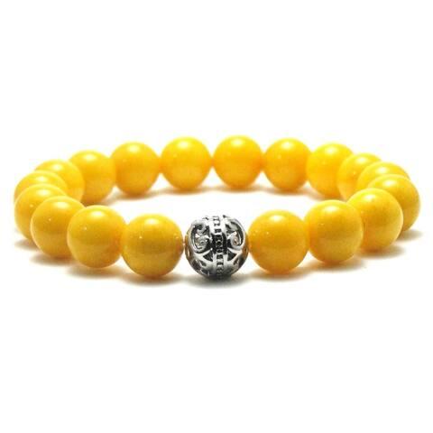 Women's 10mm Yellow Natural Beads Stretch Bracelet