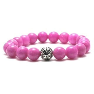 Women's 10mm Pink Natural Beads Stretch Bracelet