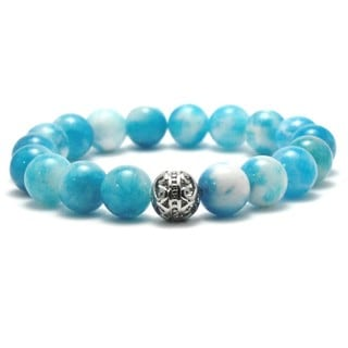 Women's Natural Sky Blue and White Textured 10mm Beaded Stretch Bracelet