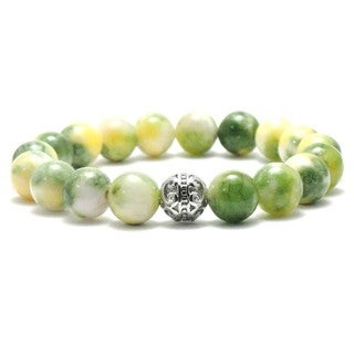 AALILLY Women's 10mm Yellow and Green Textured Natural Beaded Stretch Bracelet