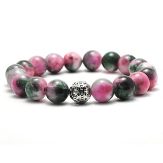 Women's 10mm Pink and Green Natural Beaded Stretch Bracelet